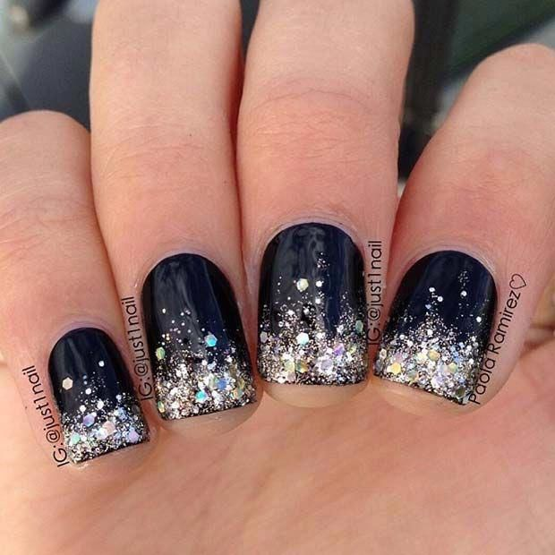 BLACK GLITTER NAILS DESIGNS THAT ARE MORE GLAM THAN GOTH