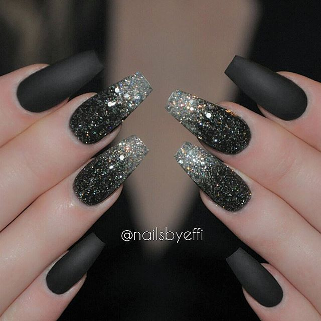 37 Black Glitter Nails Designs That You Can Make