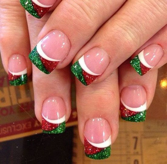 CHRISTMAS NAIL ART IN GOLD WHITE AND RED COLORS